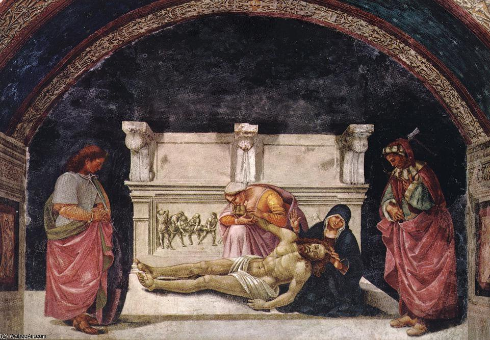 Lamentation over the Dead Christ with Sts Parenzo and Fausti by Luca Signorelli (1450-1523, Italy)