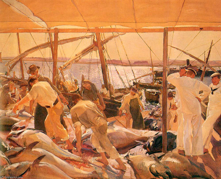 The tuna catch - ayamonte by Joaquin Sorolla Y Bastida (1863-1923, Spain)