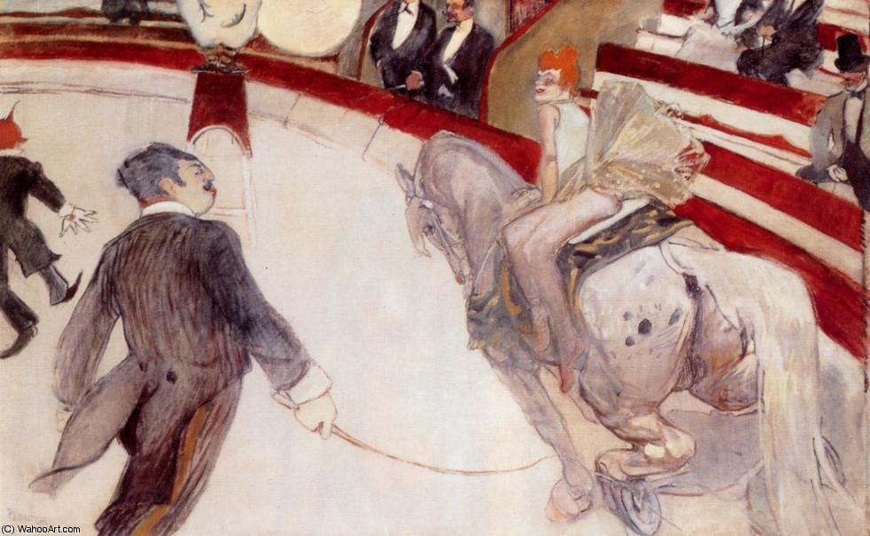 At the Cirque Fernando - The Ringmaster by Henri De Toulouse Lautrec (1864-1901, France)