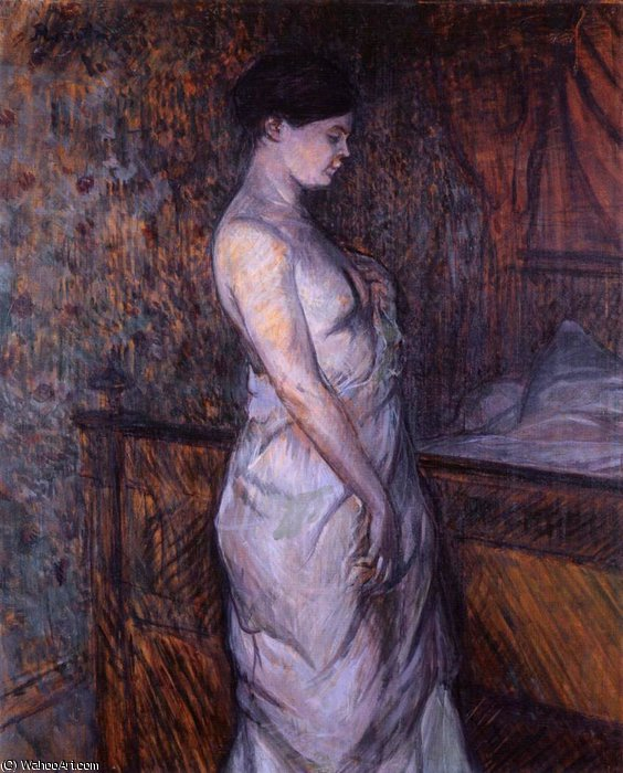 Madame Poupoule in a Chemise Standing by a Bed by Henri De Toulouse Lautrec (1864-1901, France)