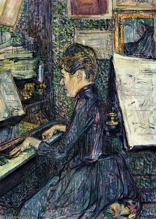 Mademoiselle Dihau Playing the Piano by Henri De Toulouse Lautrec (1864-1901, France)