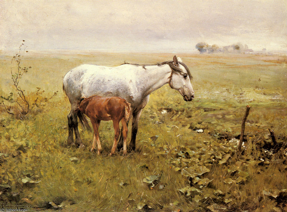 A Mare and her Foal in a Landscape by Alfred Wierusz Kowalski (1849-1915, Poland)