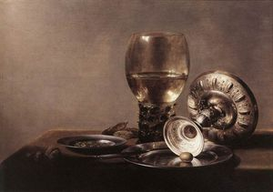 Pieter Claesz Soutman - Still life with Wine Glass and Silver Bowl