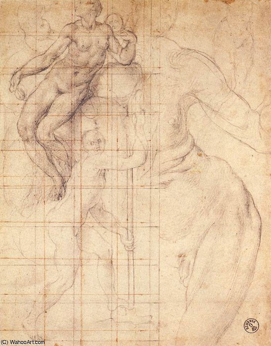 Adam and Eve at Work by Jacopo Carucci (Pontormo) (1494-1557, Italy) | Museum Art Reproductions Jacopo Carucci (Pontormo) | ArtsDot.com