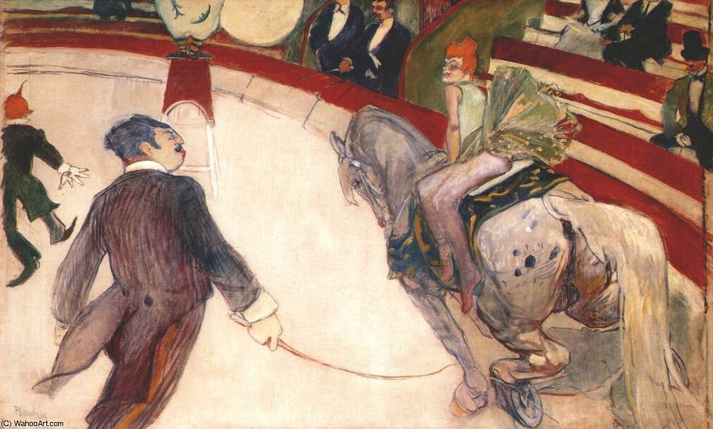 At the Cirque Fernando The Ringmaster by Henri De Toulouse Lautrec (1864-1901, France)
