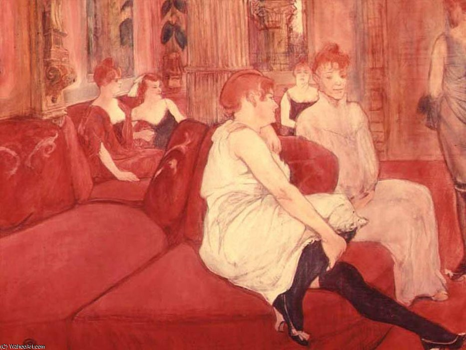 in The Salon in the Rue des Moulins (10) by Henri De Toulouse Lautrec (1864-1901, France)