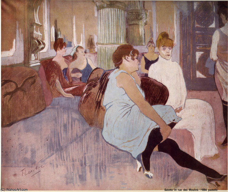 in The Salon in the Rue des Moulins by Henri De Toulouse Lautrec (1864-1901, France)