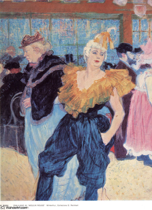 At the Moulin Rouge The Clowness Cha-U-Kao by Henri De Toulouse Lautrec (1864-1901, France)