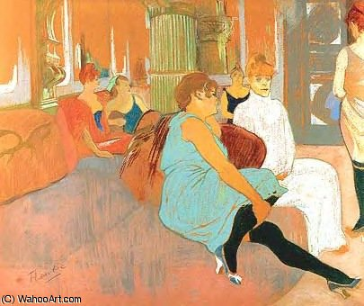 Au salon de la rue des moulins by Henri De Toulouse Lautrec (1864-1901, France)