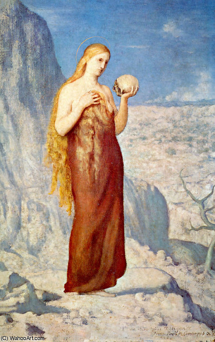 Mary Magdalene at St. Baume by Pierre Puvis De Chavannes (1824-1898, France)