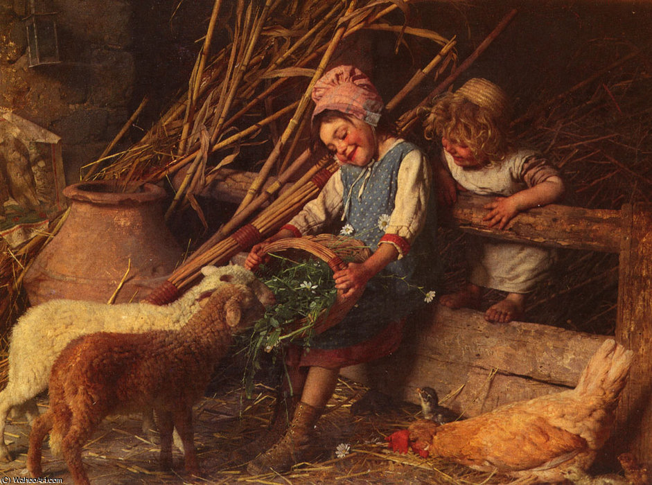 Buy Museum Art Reproductions : Feeding the Lambs by Gaetano Chierici (1838-1920, Italy) | ArtsDot.com