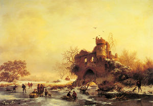 Frederick Marianus Kruseman - winter landscape with skaters on a frozen river beside castle ruins