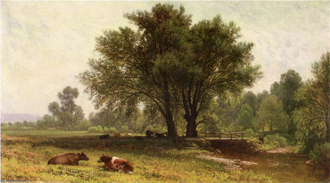Landscape with Cows by Aaron Draper Shattuck (1832-1928, United States) | Museum Art Reproductions | ArtsDot.com