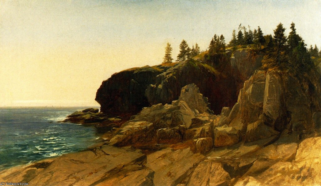Whitehead cliffs - maine by Aaron Draper Shattuck (1832-1928, United States) | Painting Copy | ArtsDot.com