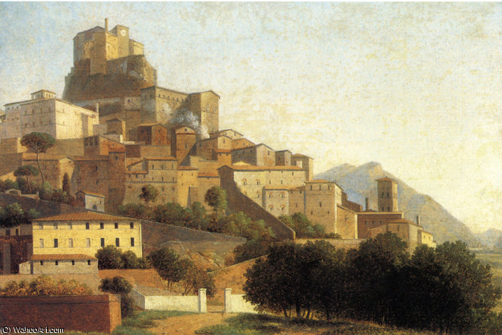 Hill Town in Italy by Alexandre Hyacinthe Dunouy (1757-1841, France) | Art Reproductions Alexandre Hyacinthe Dunouy | ArtsDot.com