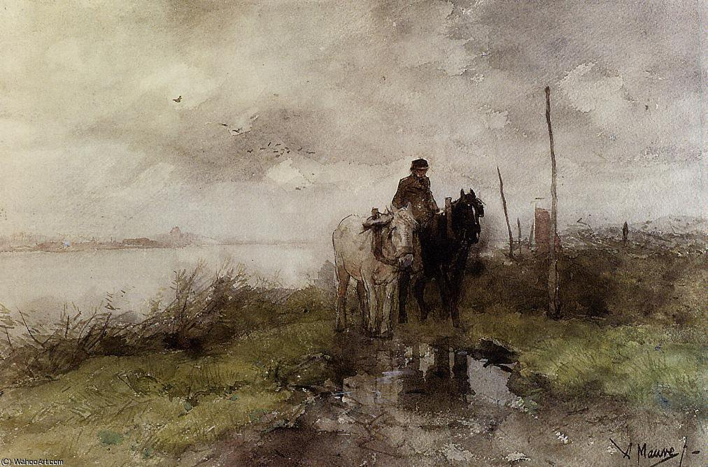 Order Oil Painting : The country road by Anton Mauve (1838-1888, Netherlands) | ArtsDot.com