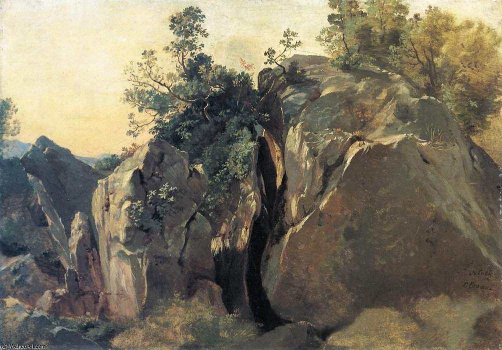 Cliffs at Olevano by Friedrich Nerly (1808-1878, Germany) | Oil Painting | ArtsDot.com