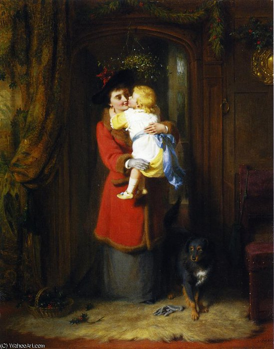 Under the Mistletoe by George Bernard Oneill (1828-1917, Ireland) | ArtsDot.com