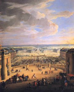 Jean-Baptiste Martin (Martin Des Batailles) - View of the Forecourts of the Chateau de Versailles and the Stables