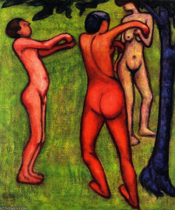 Nudes in Nature (also known as Dancing Nudes or Nudes in the Open Air)- by Lajos Tihanyi (1885-1938, Hungary) | ArtsDot.com