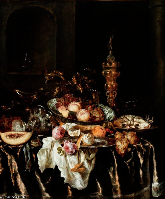 A Banquet Still Life with Roses by Abraham Hendriksz Van Beijeren (1620-1690, Netherlands)
