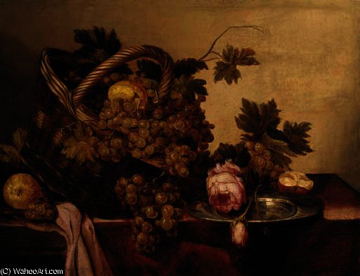 A basket of grapes and apples, with roses and a pewter plate on a table by Abraham Hendriksz Van Beijeren (1620-1690, Netherlands)