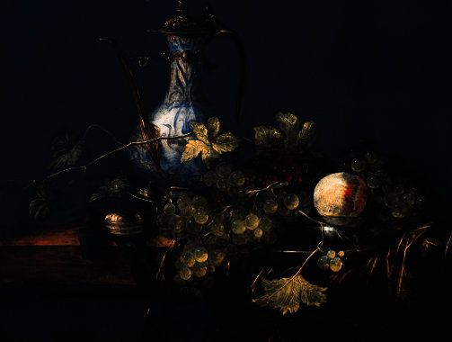 A chinese porcelain jug, grapes and a peach on a pewter plate with a fobwatch on a draped ledge by Abraham Hendriksz Van Beijeren (1620-1690, Netherlands)