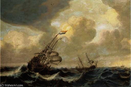 A dutch three-master and other shipping in a stiff breeze at open sea by Abraham Hendriksz Van Beijeren (1620-1690, Netherlands)