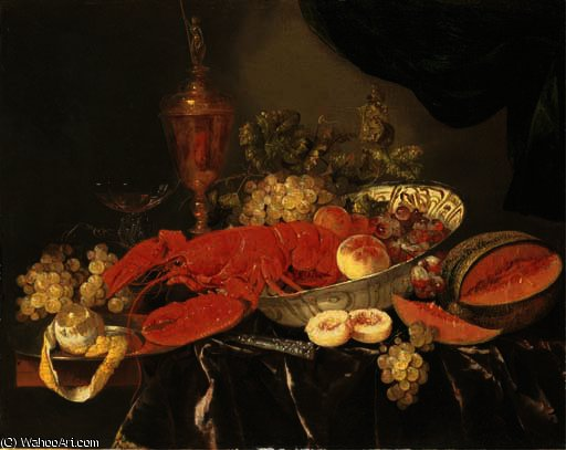 A lobster with grapes and a peach in a wan-li 'kraak' porselein bowl by Abraham Hendriksz Van Beijeren (1620-1690, Netherlands)