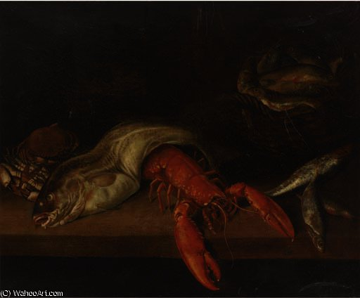 A lobster, a basket of fish, a crab, a cod and other fish on a ledge by Abraham Hendriksz Van Beijeren (1620-1690, Netherlands)