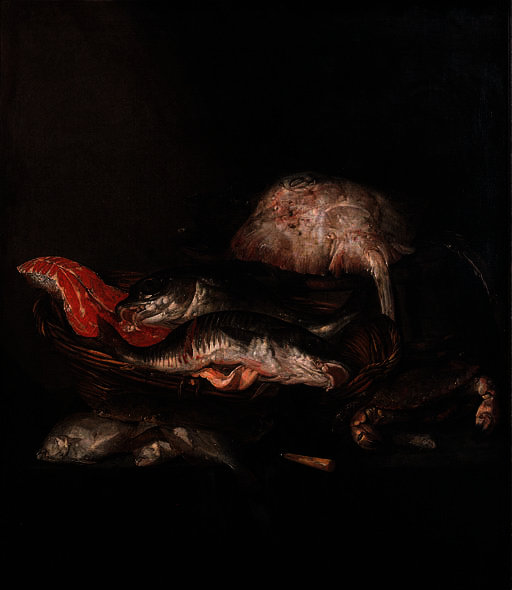 A ray on a barrel, a salmon-steak, a pike-perch and a coalfish in a basket with flounders, a knife and a crab on a draped table by Abraham Hendriksz Van Beijeren (1620-1690, Netherlands) | Art Reproduction | ArtsDot.com