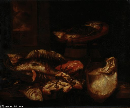 A ray, a salmon steak, crabs and other fish in a basket on a wooden ledge before a window by Abraham Hendriksz Van Beijeren (1620-1690, Netherlands)