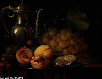 A silver ewer, a bunch of grapes with peaches and oysters on a pewter plate, on a partially draped table by Abraham Hendriksz Van Beijeren  (order Fine Art oil painting Abraham Hendriksz Van Beijeren)