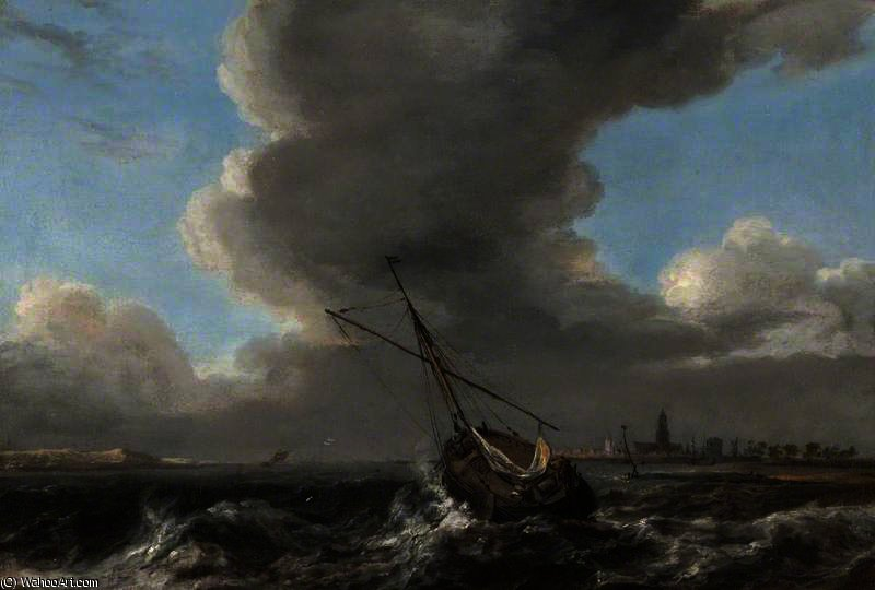 A Small Dutch Vessel at Anchor off the Coast in a Rough Sea by Abraham Hendriksz Van Beijeren (1620-1690, Netherlands)
