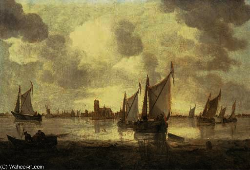 Dutch kaags and other shipping in calm seas, a view of dordrecht beyond by Abraham Hendriksz Van Beijeren (1620-1690, Netherlands)