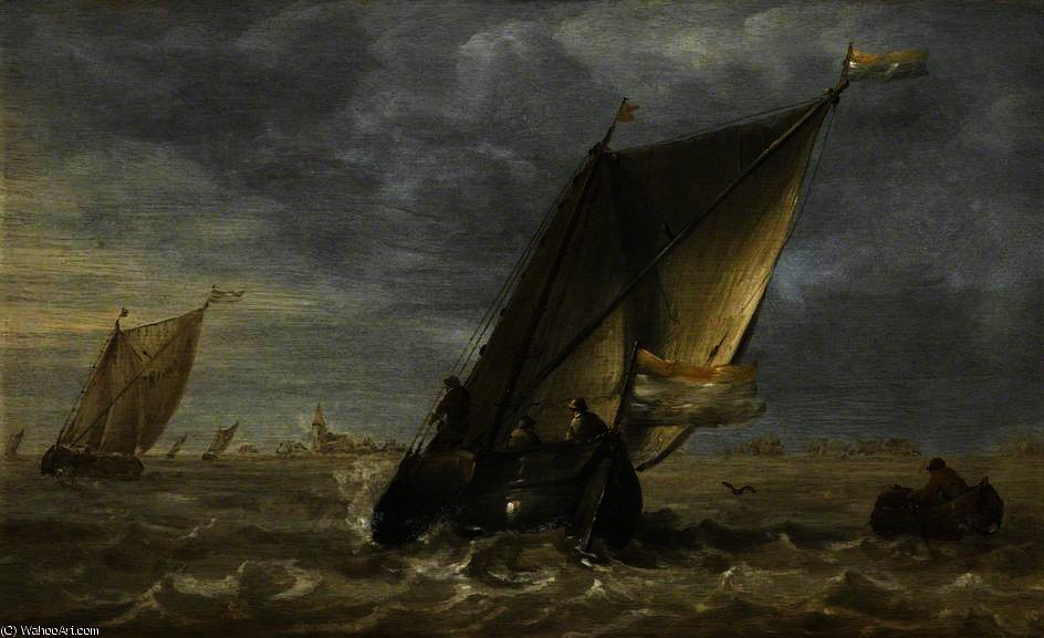 Fishing Boats in a Fresh Breeze by Abraham Hendriksz Van Beijeren (1620-1690, Netherlands)