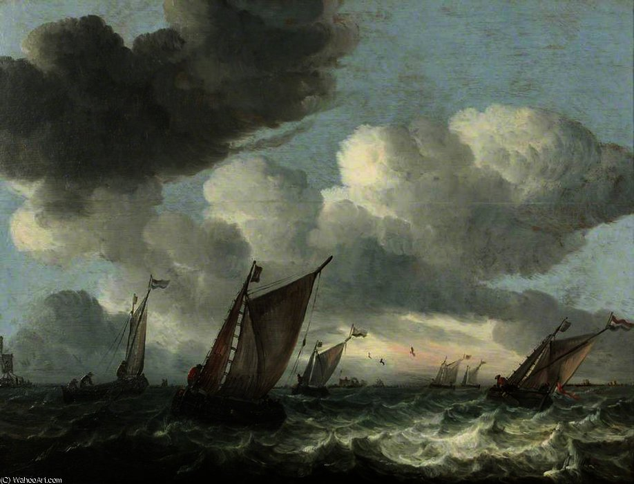 Fishing Boats off the Coast in a Choppy Sea by Abraham Hendriksz Van Beijeren (1620-1690, Netherlands)