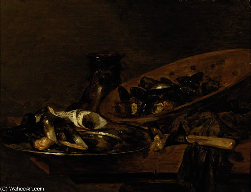 Mussels in pewter and earthenware plates with an upturned 'roemer', on a wooden table by Abraham Hendriksz Van Beijeren (1620-1690, Netherlands)