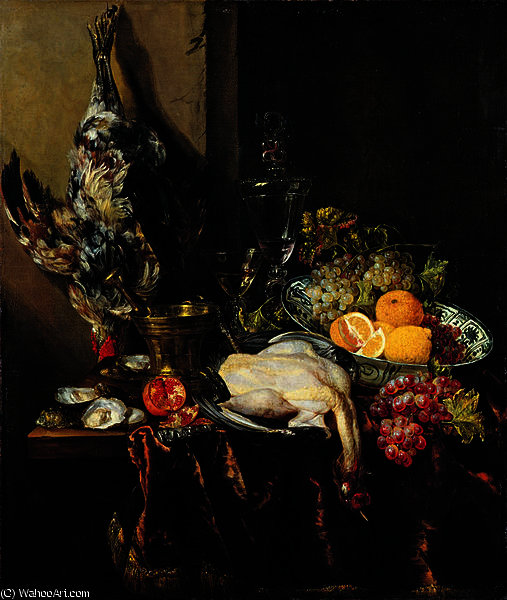 Pronkstillleven with Fruit and Fowl by Abraham Hendriksz Van Beijeren (1620-1690, Netherlands)