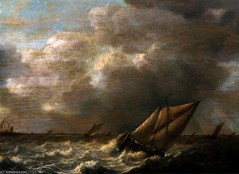 Seascape with Galliots by Abraham Hendriksz Van Beijeren (1620-1690, Netherlands)