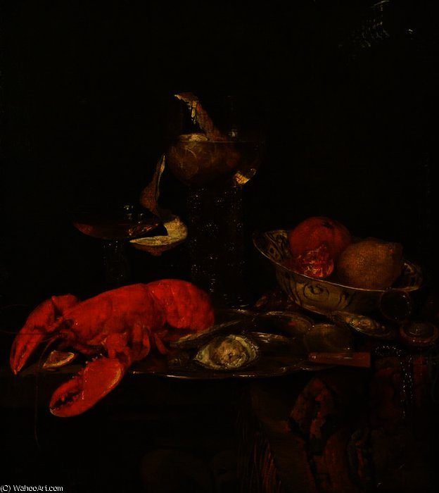 Still Life with a Lobster by Abraham Hendriksz Van Beijeren (1620-1690, Netherlands)
