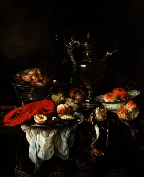 Still Life with a Lobster, Fruit, Silver and China Ware by Abraham Hendriksz Van Beijeren (1620-1690, Netherlands)