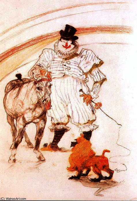 At the Circus - Pony and Baboon by Henri De Toulouse Lautrec (1864-1901, France)
