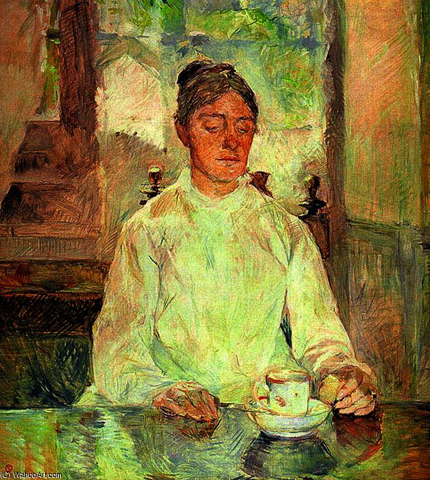Contessa Adéle de Toulouse-Lautrec Having Breakfast by Henri De Toulouse Lautrec (1864-1901, France)