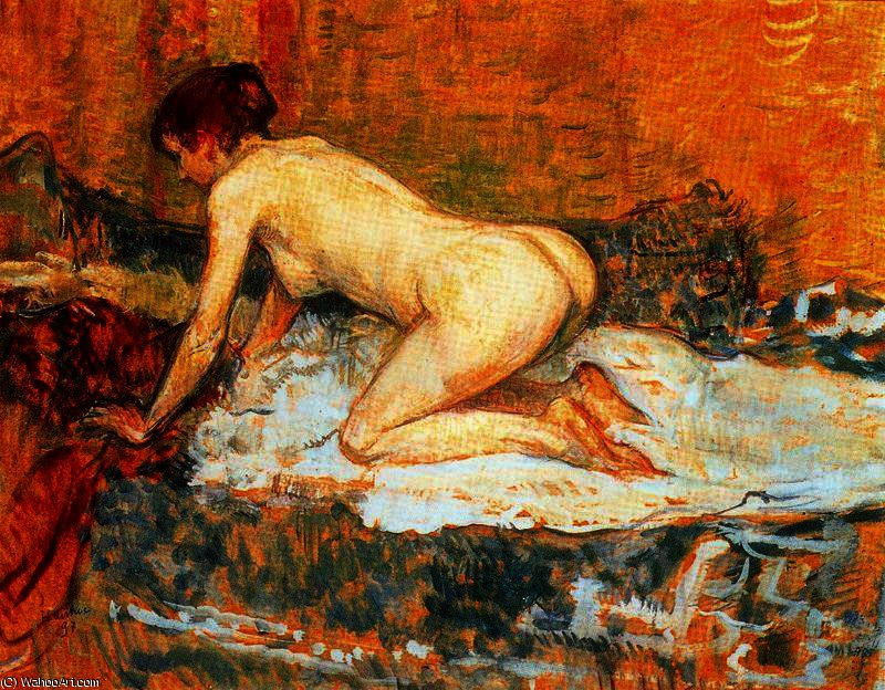 Crouching woman red hair by Henri De Toulouse Lautrec (1864-1901, France)