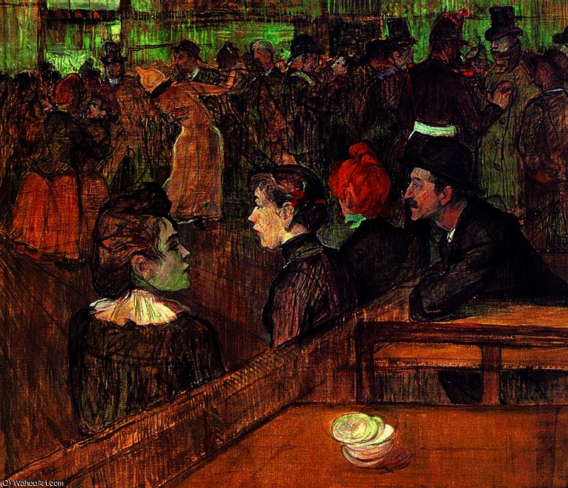 Dance in the Moulin of the Galette by Henri De Toulouse Lautrec (1864-1901, France)