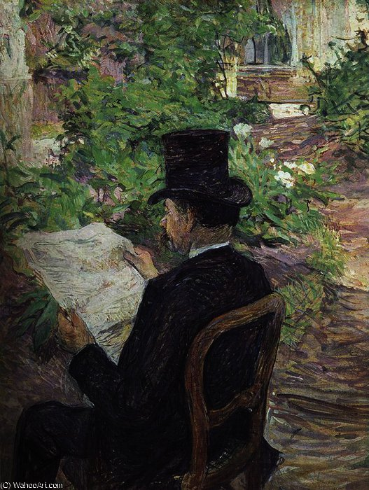 siré Dihau Reading the Newspaper by Henri De Toulouse Lautrec (1864-1901, France)
