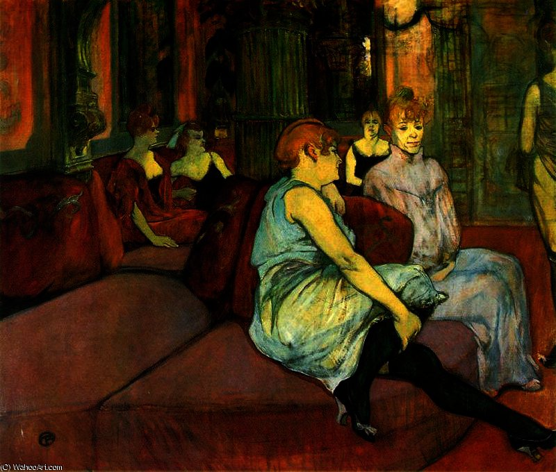 In the Room of Rue des Moulins by Henri De Toulouse Lautrec (1864-1901, France)
