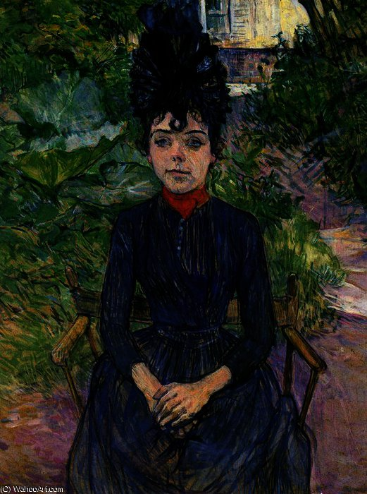 Justine Dieuhl Seated in the Garden of Forest by Henri De Toulouse Lautrec (1864-1901, France)