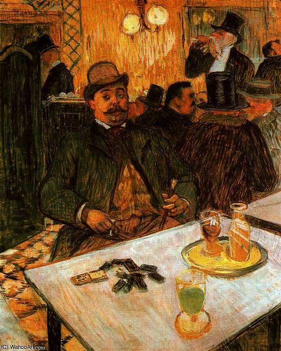 Mr. Boileau in the Coffee by Henri De Toulouse Lautrec (1864-1901, France)